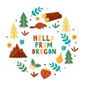 USA Collection. Hello From Oregon Theme. State Symbols