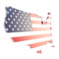 Usa country shaped copyspace dimensional plate isolated glossy with the texture of flag on white background Royalty Free Stock Photo