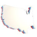Usa country shaped copyspace dimensional plate isolated three layer on white background Royalty Free Stock Photo