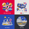 USA Culture 4 Flat Icons Square Royalty Free Stock Photo