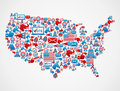 USA elections icons map Royalty Free Stock Image