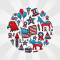 USA elections sketch style icons Royalty Free Stock Image