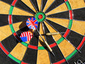 USA and England in a game of darts Stock Photos