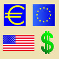 Usa and euro flag green dollar sign Stock Image