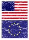 Usa and european flag, vector Royalty Free Stock Photos