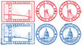 USA famous cities stamps Royalty Free Stock Photo