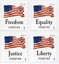 USA First Class Forever Flag Stamps Royalty Free Stock Photo