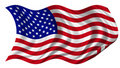 USA Flag billowing on white background Royalty Free Stock Photos