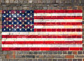 USA flag on a brick wall Stock Photo