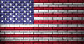USA flag with brick wall texture Royalty Free Stock Photo