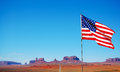 Usa flag with the canyon in the background Stock Photography