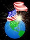 USA flag on the Earth Royalty Free Stock Photo