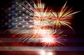 USA Flag with Fireworks Royalty Free Stock Photo