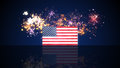 Usa flag and fireworks on background independence day illustration Royalty Free Stock Photo