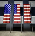 USA flag in front of building Royalty Free Stock Photo