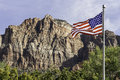 USA Flag In Front Of Mountains