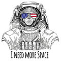 Usa flag glasses American flag United states flag Chimpanzee Monkey wearing space suit Wild animal astronaut Spaceman