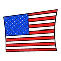 USA flag icon cartoon