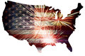 Usa flag in map silhouette with fireworks united states of america outline background for th of july illustration Royalty Free Stock Image