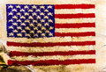 Usa flag painted on old brown paper surface background Royalty Free Stock Photos