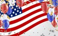 USA flag with party banner with Balloons background for 4 july independence day Royalty Free Stock Photo