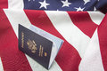 Usa flag passport we the people concept quote of is displayed in united states of america booklet while resting on american Stock Photo