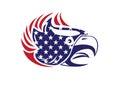 USA Flag Patriotic Eagle Bald Hawk Head Vector Logo Royalty Free Stock Photo