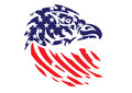 USA Flag Patriotic Eagle Bald Hawk Head Vector Object