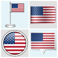 Usa flag set of sticker button label and flagstaff various Royalty Free Stock Photos