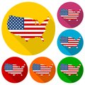 USA flag, Shape of american map icons set with long shadow