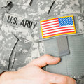 USA flag shoulder patch on military uniform Royalty Free Stock Photo