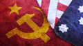 Usa Flag on USSR Flag Royalty Free Stock Photo