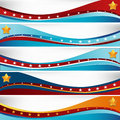USA Flag Wave Set Stock Photography