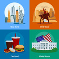 USA Flat 2x2 Icons Set Royalty Free Stock Photo
