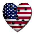 Usa heart wounded with bullet holes Stock Photos
