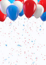 Usa holiday background balloons and confetti celebration clipping path included for easy selection Royalty Free Stock Photos