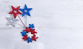 USA holiday stars in exploding pattern on white wooden boards Royalty Free Stock Photo