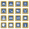 USA icons set blue