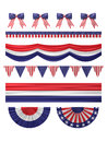 USA  independence day decoration borders set. Royalty Free Stock Photo