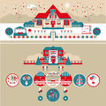 USA Independence Day Decoration & Houses Vector Set Royalty Free Stock Photo