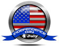 Usa independence day metal icon with us flag and blue ribbon with text th of july isolated on white background Royalty Free Stock Photography