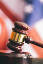 Usa judgement gavel and american flag symbol for jurisdiction selective focus Stock Photo