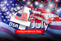 USA 4 july independence day design of america flag with firework