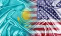 Usa and kazakhstan relations between two countries conceptual image Royalty Free Stock Images