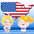 Usa kids boy girl map and national flag Stock Image