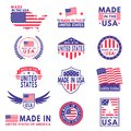 Usa labels. Flag made america american states flags label badge stamp star patriot stripe ribbon emblem sticker banner Royalty Free Stock Photo