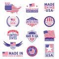 Usa labels. Flag made america american states flags label badge stamp star patriot stripe ribbon emblem sticker banner