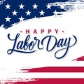 USA Labor Day greeting card with brush stroke background in United States national flag colors and hand lettering text.