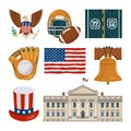 Usa landmarks and other different cultural objects