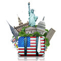 Usa landmarks usa travel suitcase and new york Stock Photos
